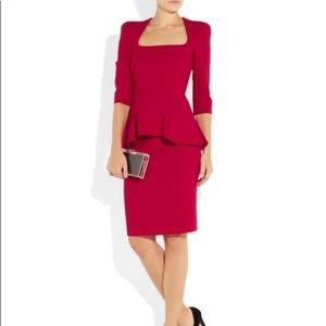 Alexander McQueen Red Wool-Crepe Peplum Dress
